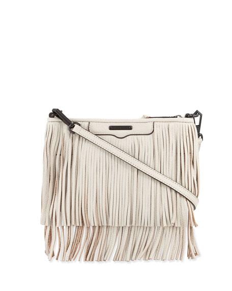 Rebecca Minkoff Finn Fringe Leather Crossbody Bag, Putty