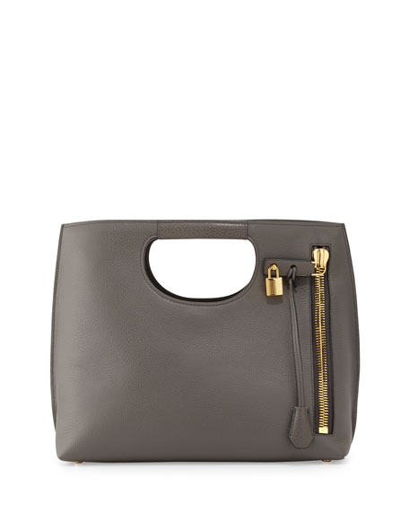 Alix Medium Calf Leather Tote Bag, Graphite
