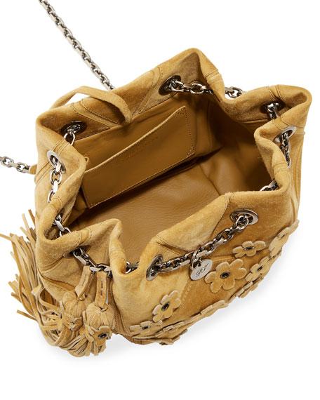 Prismic Floral Applique Suede Bucket Bag