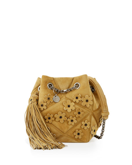 Roger Vivier Prismic Floral Applique Suede Bucket Bag