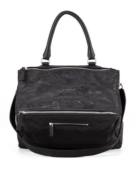 Givenchy Pandora Large Leather Satchel Bag, Black