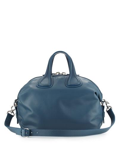 Nightingale Medium Waxy Leather Satchel Bag, Mineral Blue