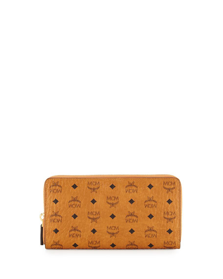MCM Color Visetos Zip-Around Wallet, Cognac