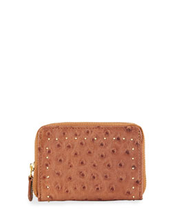 Mini Ostrich-Embossed Leather Wallet, Sienna
