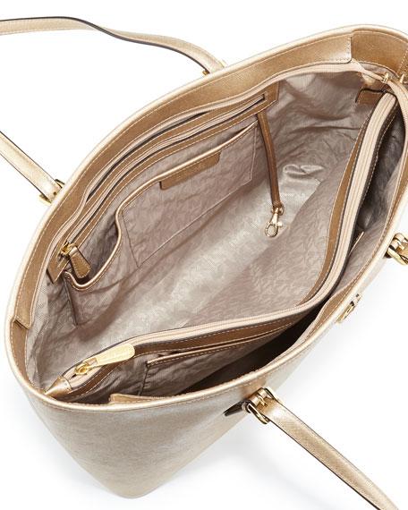 ace644c84e11 michael kors jet set travel medium metallic saffiano leather tote 1981  purses