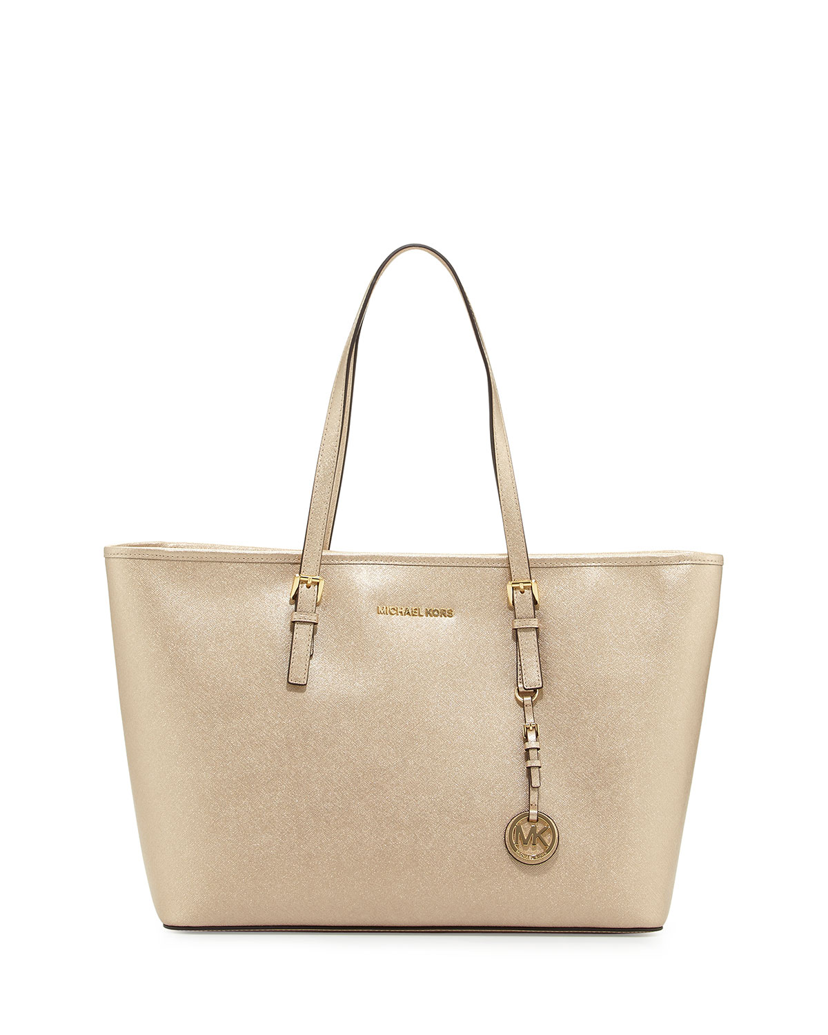 Jet Set Medium Saffiano Multi Function Tote Bag Pale Gold