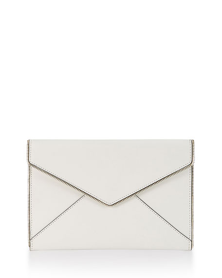 Leo Envelope Clutch Bag, White
