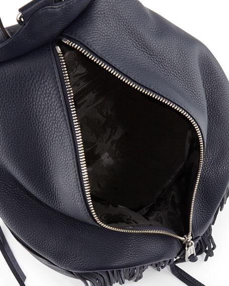 Julian Fringe Leather Backpack, Moon