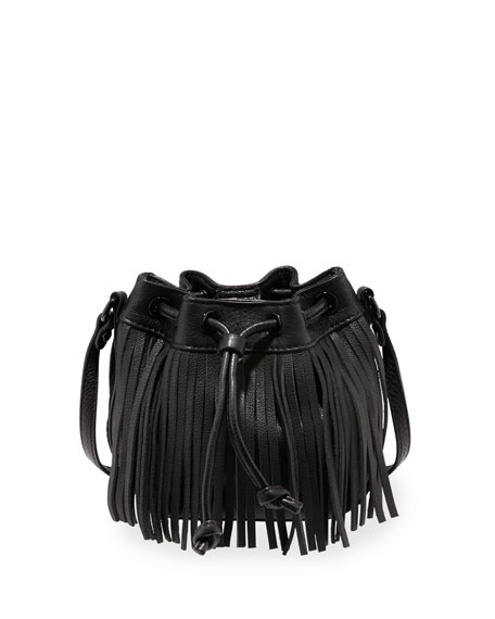 Rebecca Minkoff Lexi Micro Fringe Bucket Bag, Black