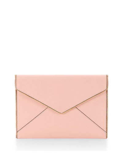 Leo Saffiano Zip-Trim Clutch Bag, Baby Pink