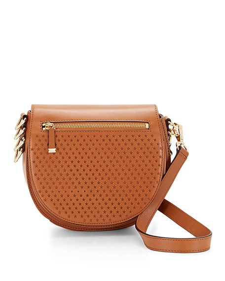 Rebecca Minkoff Star-Perforated Astor Saddle Bag, Almond
