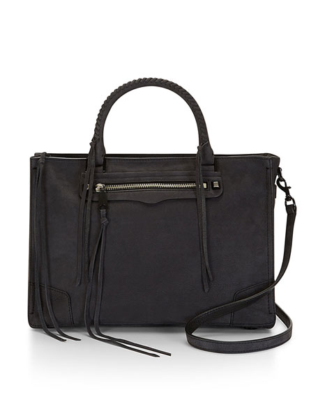 Regan Soft Leather Satchel Tote Bag, Black