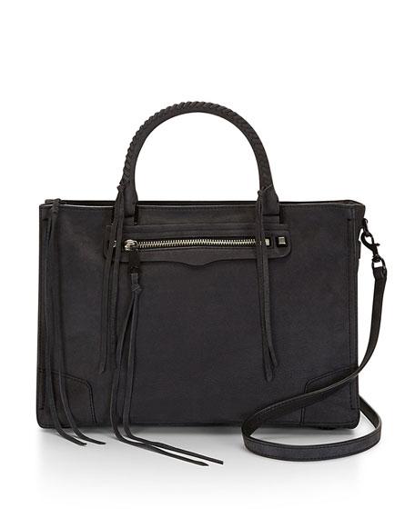 Rebecca Minkoff Regan Soft Leather Satchel Tote Bag, Black