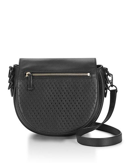 Rebecca Minkoff Star-Perforated Astor Saddle Bag, Black