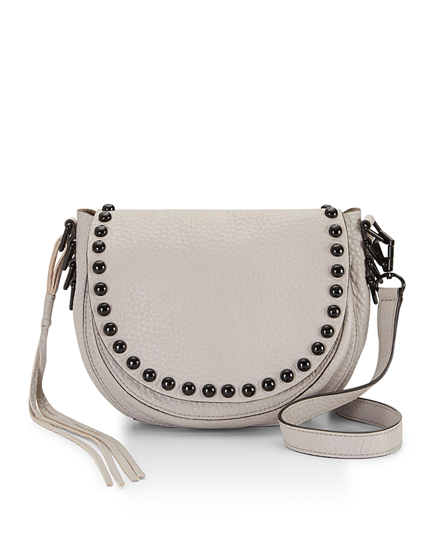 41770a07db83 Rebecca Minkoff Pebbled Leather Studded Saddle Bag