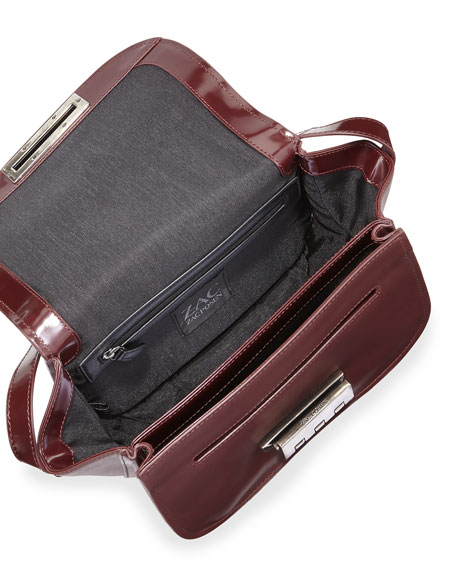 Eartha Accordion Leather Crossbody Bag, Vino