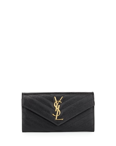 V Flap Monogram Continental Wallet, Black