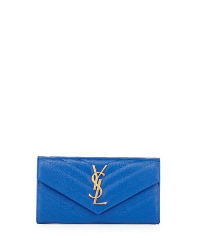 V Flap Monogram Continental Wallet, Blue