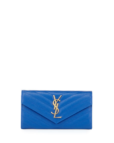 Saint Laurent V Flap Monogram Continental Wallet, Blue