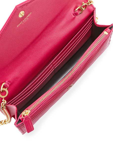 leather monogrammed clutch - Saint Laurent Small V-Flap Monogram Wallet-On-A-Chain, Lipstick Pink