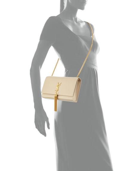 Monogram Medium Tassel Crossbody Bag, Beige