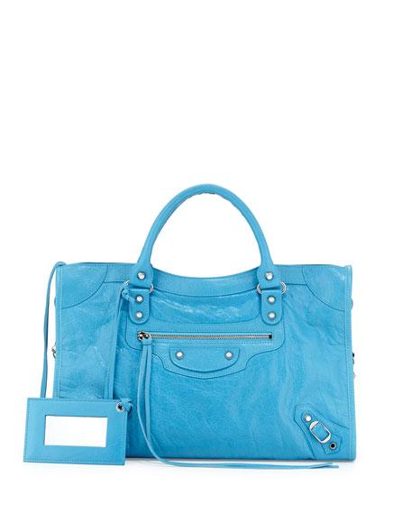 Balenciaga Classic City Lambskin Tote Bag, Bright Blue