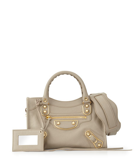 Balenciaga Edge City Mini Goatskin Satchel Bag, Taupe