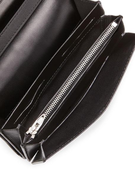 Prisma Croc-Embossed Double Biker Clutch Bag, Black