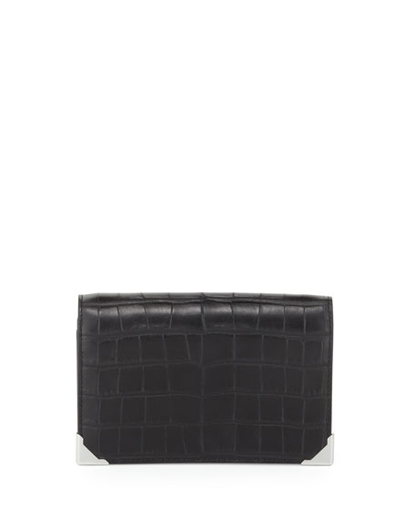 Alexander Wang Prisma Croc-Embossed Double Biker Clutch Bag, Black