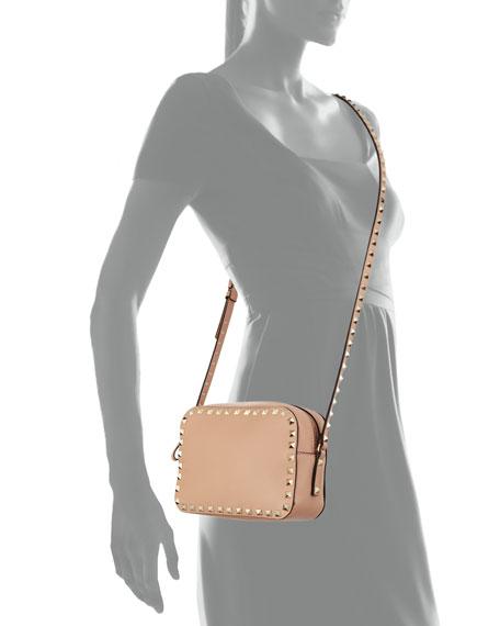 Valentino Garavani Rockstud Small Zip-Top Camera Bag, Dark Beige