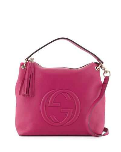 Soho Large Leather Hobo Bag, Bright Pink