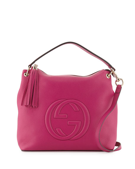 Gucci Soho Large Leather Hobo Bag, Bright Pink