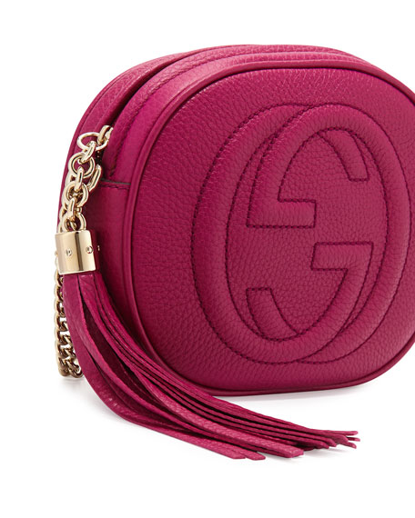 Soho Leather Mini Shoulder Bag, Bright Pink