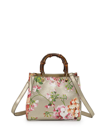 Gucci Bamboo Shopper Mini Blooms Crossbody Bag, Gold