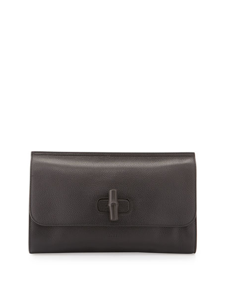 Gucci Bamboo Daily Leather Clutch Bag, Black