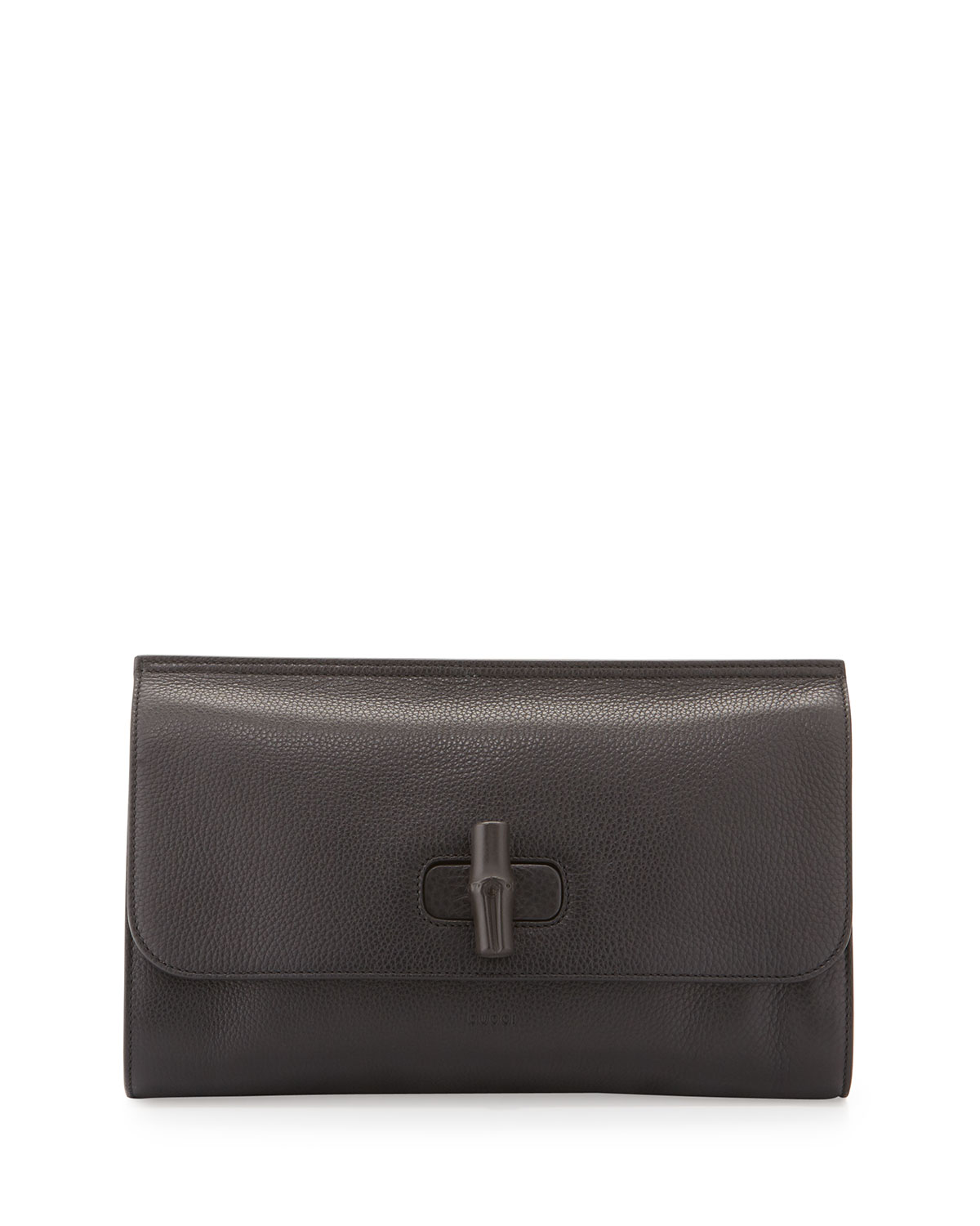 908a2367340a Gucci Bamboo Daily Leather Clutch Bag, Black | Neiman Marcus
