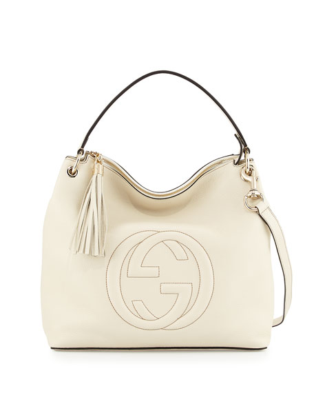 Gucci Soho Large Leather Hobo Bag, Mystic White
