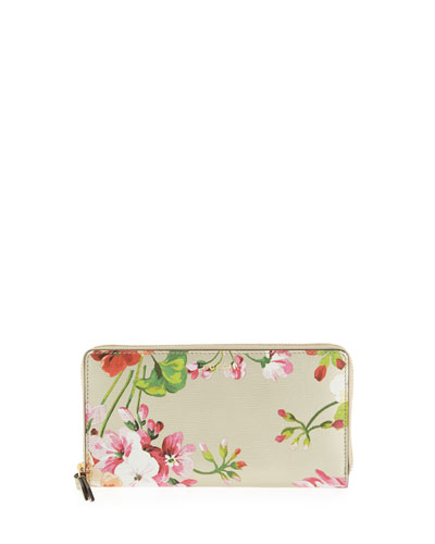 Metallic Leather Blooms Continental Wallet, Gold