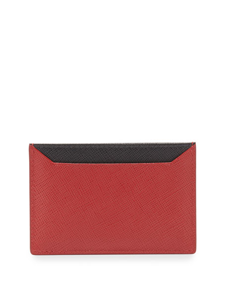 Prada Saffiano Leather Flat Card Holder, Red/Black (Rosso+Nero)
