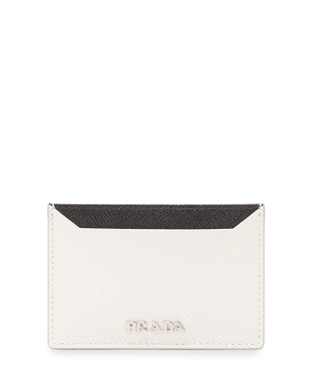Prada Saffiano Leather Flat Card Holder, Black/White (Nero+Talco)