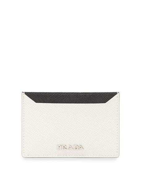 d34c65f8a589 ... inexpensive prada saffiano leather flat card holder black white  nerotalco a8c51 9997b