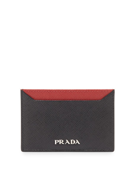 Prada Saffiano Leather Flat Card Holder, Black/Red (Nero+Rosso)