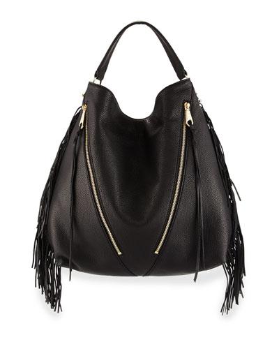 Fringe Moto Leather Hobo Bag, Black