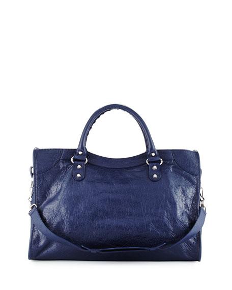 Classic City Lambskin Tote Bag, Dark Blue