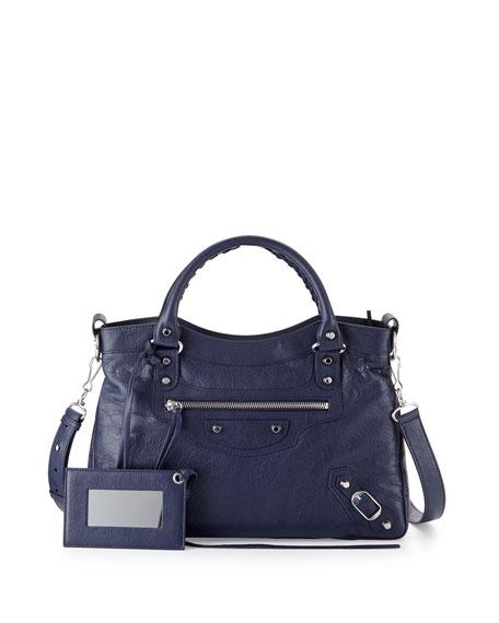 Classic Town Lambskin Tote Bag, Dark Blue