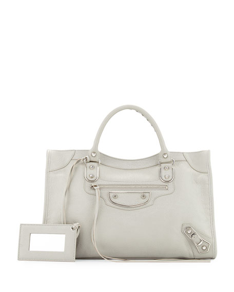 Balenciaga Metallic Edge Nickel City Bag, Gray
