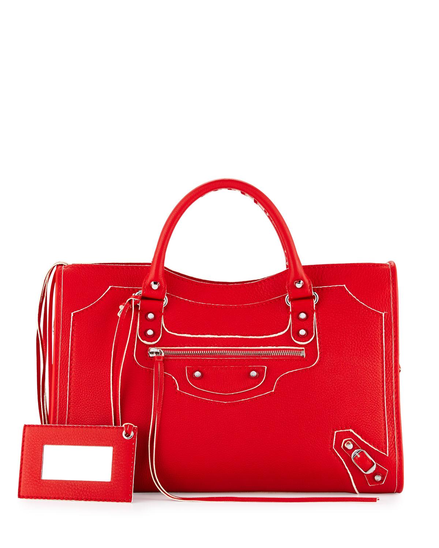 ed2a1425ee Balenciaga Classic Hilite City Tote Bag, Red   Neiman Marcus
