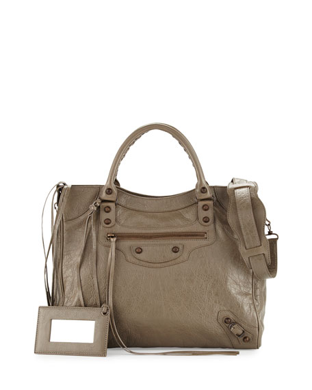 Balenciaga Classic Velo Lambskin Crossbody Bag, Beige