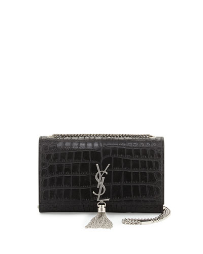 Monogram Medium Tassel Crossbody Bag, Black