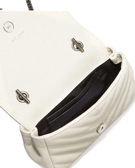 V Flap Calfskin Leather Mini Crossbody Chain Bag, White